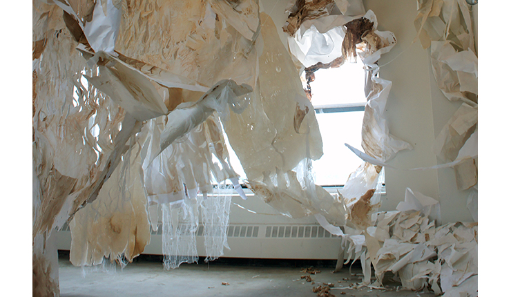 Sandra La Page, untitled, paper and print installation, variable dimensions, 2012